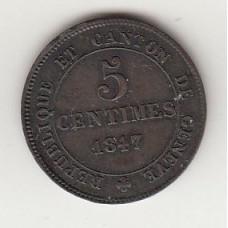 5 сантимов, Женева, 1847