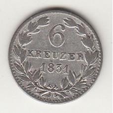 6 крейцеров, Нассау, 1831