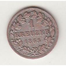 1 крейцер, Бавария, 1865