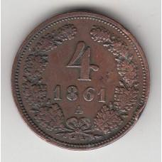 4 крейцера, Австрия, 1861