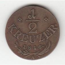 1/2 крейцера, Австрия, 1816
