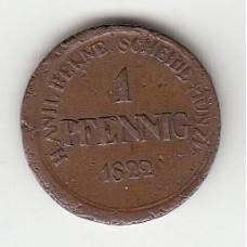 1 пфенниг, Ангальт-Бернбург, 1822