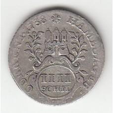 4 шиллинга, Гамбург, 1738
