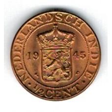 монета 1/2 цента, Нидерландская Индия, 1945 год, стоимость , цена