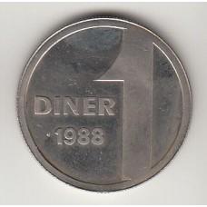 монета 1 динер, Андорра, 1988год , стоимость , цена