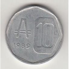 10 аустралей, Аргентина, 1989