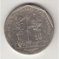 монета 10 песо, Колумбия, 1985год, стоимость , цена