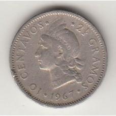 монета 10 сентаво, Доминиканская Республика, 1967год, стоимость , цена
