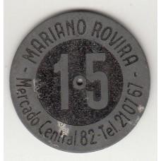 монета 15 песет, кооперативный токен, Испания, стоимость , цена