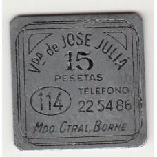 монета 15 песет, кооперативный токен, Испания , стоимость , цена