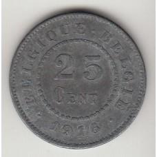 монета 25 сантимов, Бельгия, 1916год , стоимость , цена