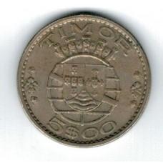 монета 5 эскудо, Тимор, 1970год, стоимость , цена