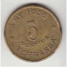 монета 5 сентимо, кооперативный токен, Испания, 1935год , стоимость , цена