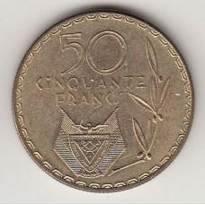монета 50 франков, Руанда, 1977год , стоимость , цена