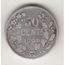 монета 50 сантимов, Бельгия, 1907год , стоимость , цена