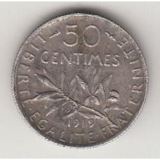 монета 50 сантимов, Франция, 1915год , стоимость , цена