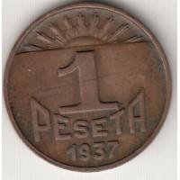1 песета, Испания, Астурия и Леон, 1937