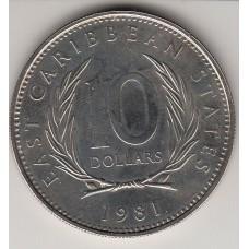 монета 10 долларов, Британские Восточно-Карибские территории, 1981год , стоимость , цена