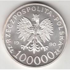 100000 злотых, Польша, 1990