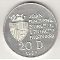 20 динеров, Андорра, 1988