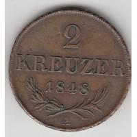 2 крейцера, Австрия, 1848