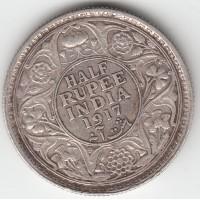 1/2 рупии, Британская Индия, 1917