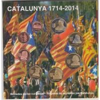 Набор юбилейных монет Каталонии, 8 штук, 2014, наборы монет испании