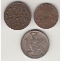набор монет Чехословакии 20,50 геллеров, 1 крона 1946-1948 гг.