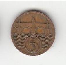 5 геллеров, Чехословакия, 1925