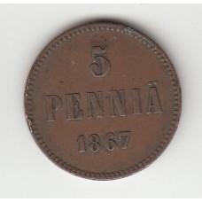 5 пенни, Финляндия, 1867