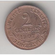 2 сантима, Франция, 1907