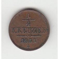 1/4 крейцера, Австрия, 1851