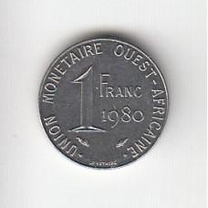 1 франк, КФА, 1980