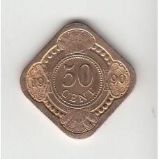 50 центов, Нидерландские Антильские острова,1990
