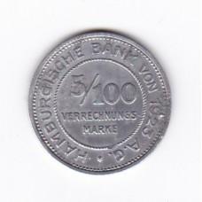 5/100 расчетных марок, нотгельд, Гамбург, Германия, 1923