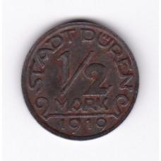 1/2 марки, нотгельд, Дюрен, Германия, 1919