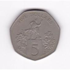5 долларов, Либерия, 1985